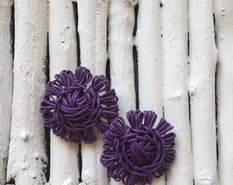 Handmade fabric flower shape earring with waxed thread.