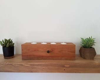 Rustic Handmade Wood Tea Light Candle Holder For a Cause