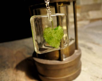 Lamium Leaf Resin Pendant