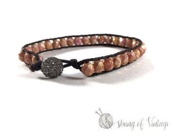 Beaded Stackable Bracelet - Personalized Gift - Boho Chic - Pink - Brown -