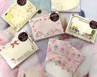 New 2017 Sanrio mini message note cards and envelopes Hello Kitty, Cinnamoroll, My Melody, Pompompurin, Little Twin Stars, Sanrio Characters