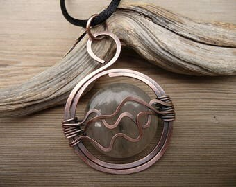wire wrapped pendant, copper jewellery, jasper stone necklace, wire wrapped jewelry, unique necklaces for women, wire wrap pendent, waves