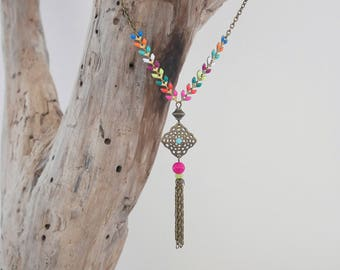 Bronze chain necklace balances and knit multicolor ear (COEP01BR)