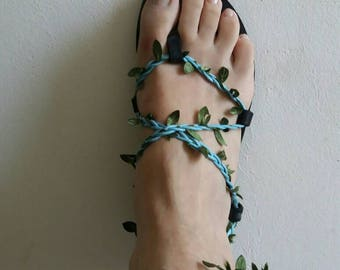 """Black """"rosemary and mint"""" leather sandals with light blue  leaf cords"""