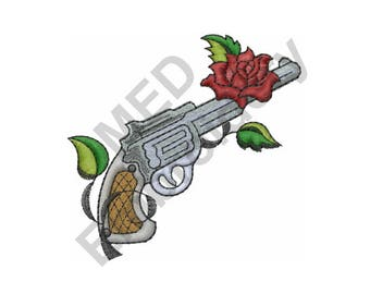 Gun With Rose - Machine Embroidery Design
