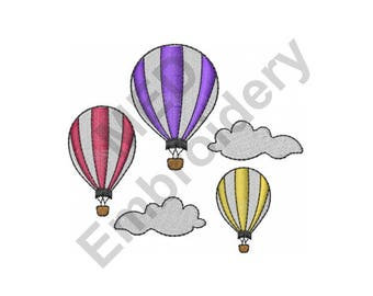 Balloons - Machine Embroidery Design, Hot Air Balloons