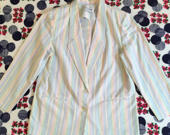 Vintage Pastel Striped Rainbow Seersucker Alfred Dunner Blazer Jacket Oversized Shoulder Pads 1980s Retro Suit