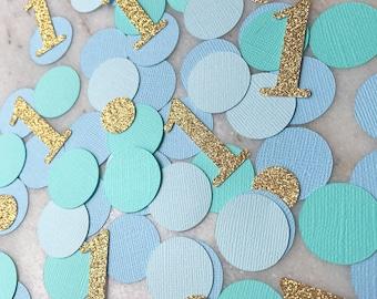 1  Confetti ~ Baby Birthday~ Gold Glitter ~ Blue ~ Seafoam ~ Ombre ~ Boy ~ First Birthday ~ Party ~ Decor ~ Decoration