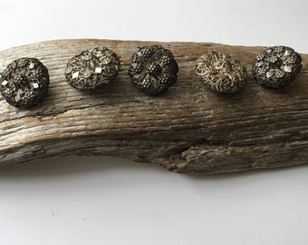 Victorian Silver Filigree Buttons