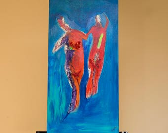 Original, minimalist, 15x30 acrylic on gallery canvas, contemporary Abstract Figures