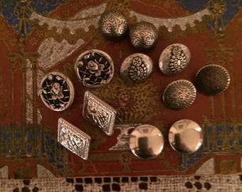 Vintage Buttons - Assorted Silver Metal Buttons Set of 12