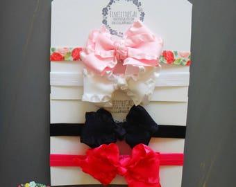FREE SHIPPING, Large Bow Headbands, Hair Clips, Ruffle bow set, Newborn Hair Bows, Infant Headbands, Baby Girl gift set, Basic Color bow set