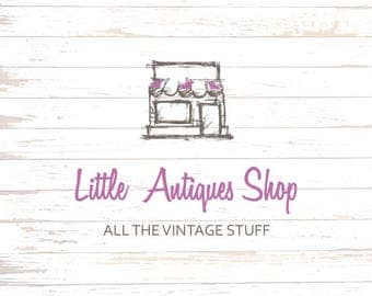 Shop Logo - Antiques logo - HAND DRAWN  - Customizable for any business - Rustic logo design