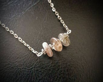 "RUTILATED QUARTZ gemstone ""nugget"" bead necklace. chain/silver/healing/pagan/wicca/crystal/protection/handmade/tumble stone/chip/rutile"