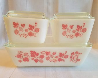 Vintage Pyrex Pink Gooseberry Refrigerator Dish Set of (1) 503 and (2) 501s. / Pink Pyrex