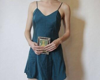 90s Turquoise 100% Silk Slip XS/S