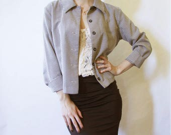 90s Houndstooth Jacket S M