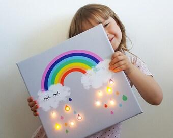 Rainbow led, Rainbow Raindrops, Rainbow wall art, Marquee light, Rainbow lamp, Rainbow nursery art, Rainbow lighting, Rainbow baby, Rainbow
