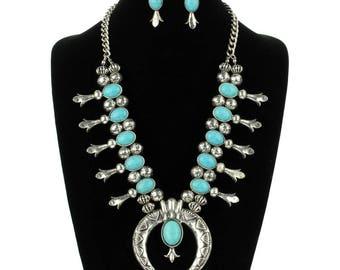 Turquoise Fashion Squash Blossom Necklace Set-SS0096SBTQ001