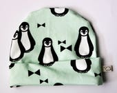 Baby hat penguin, baby hat mint, baby gift, baby hat unisex, baby shower, hipster hat baby, boys, girls baby hat