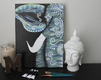 Boho Elephant Acrylic on Canvas Painting
