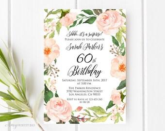 60th Birthday Invitation, Floral Birthday Invitation, Watercolor Birthday Invite, Any Age, PERSONALIZED, Digital file, #W34