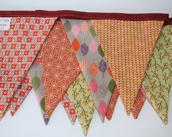 Autumn Orange Bunting, Autumn garland, Double sided bunting