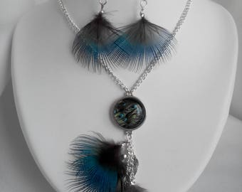 Adornment necklace / Peacock feather earrings