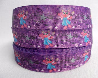 "SALE Abby Cadabby from Sesame Street on 1"" Grosgrain Ribbon by the yard. Choose 3/5/10 yards. Muppet on PBS"