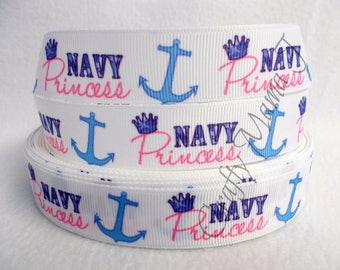 """SALE Military Girl """"Navy Princess"""" with crown and anchor on  7/8"""" Grosgrain Ribbon by the yard. Choose between  3/5/10 yards."""