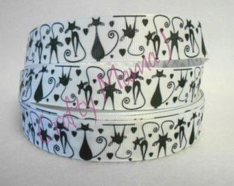 "Skinny Cats Black and White on  7/8"" Grosgrain Ribbon by the yard. Choose 3, 5, or 10 yards. Kittens"