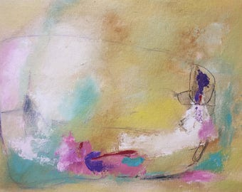 "Savor the moment - pastel  colors abstract painting mixed media on unstretched canvas 18""x24""  - Affordable art"