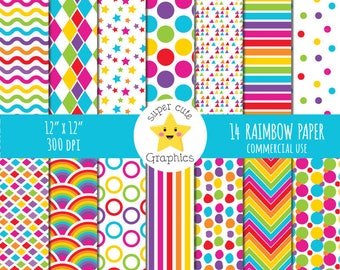 RAINBOW digital paper, commercial use, digital paper, rainbow paper, bright colors papers, scrapbook paper, paper pack