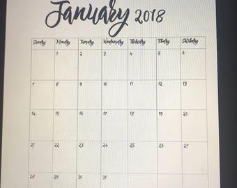 PRINTABLE MONTHLY CALENDAR Jan 2018 to Jan 2019