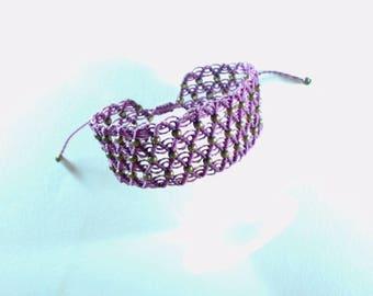 Cuff Bracelet in macrame and beads