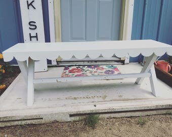 Entry Way Scallop X legs Wooden Display Bench