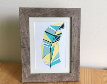 Layered Feather Paper Cut Art - Blue and Yellow