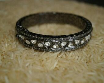 Oxidized look 6.80 cts. rose cut diamonds uncut polki diamonds filigree sterling silver hinged bangle Bracelet
