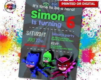 Pjmask invitation, Pjmask invite, Pjmask Birthday, Pjmask Party, Pjmask digital, Pjmask invite, Pjmas cartoon, IB 027 Pjmask