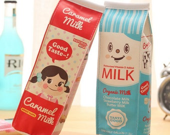 Cute Milk Carton Pencil Bag