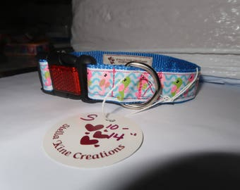 Dog Collar, Reflective Buckle, Seahorse, Grosgrain Ribbon, Light Blue Webbing, Small