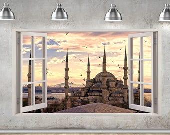 Sultan Mosque Istanbul Turkey 3D Window View Wall Sticker Mural 905