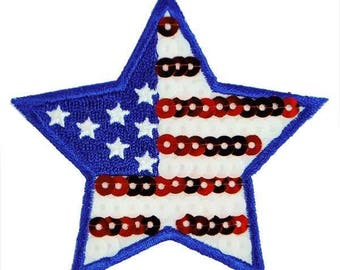 Expo Iron-On Embroidered Sequin Applique Flag Star