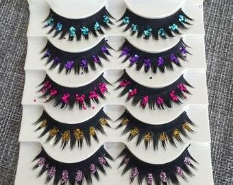 Latin Stage color eyelahes 5 pair Glitter false eyelashes