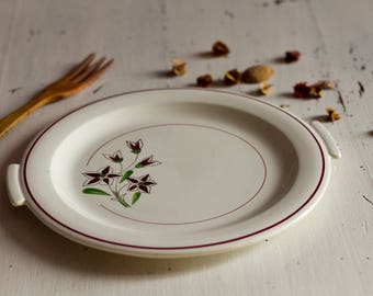 Large plate, dish serve dish meat, Vintage French, Manufacture saline France. Old French ceramic dish, retro ceramic