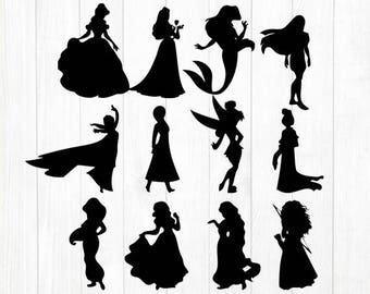 INSTANT DOWNLOAD - Disney Princess Silhouette, Disney Princess Svg, Disney Clipart, Disney Silhouette Svg File,Disney Princess Cutting Files