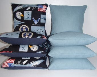 Set Of 8 U.S. Military Air Force Cornhole Bean Bags FREE SHIPPING 0