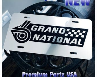 Buick Grand National Custom License Plate Weatherproof Logo Mirror Chrome Plate Fits Regal Carbon Logo