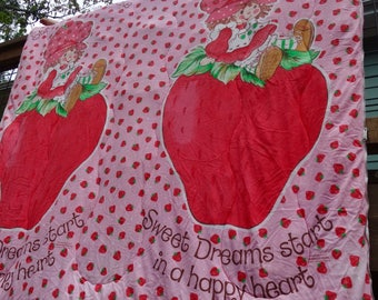 1980 Strawberry Shortcake Sleeping Bag Comforter Slumber Party Child Sleeping Bag
