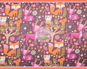 Woodland Hilco animals Brown sweat Jersey fabric bundle Mjanistoffe